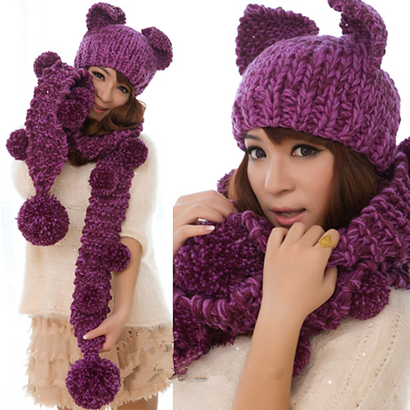 BomHCS Cute Very Warm Women's Winter Handmade Knitted Cat Ears Hat Beanie & Scarf with Pom