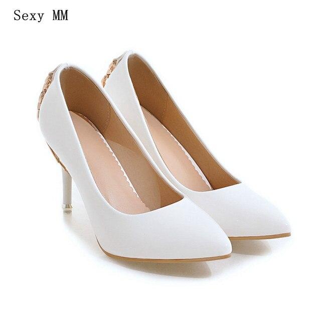 421d1bcbc3f8 Thin High Heels Ladies High Heel Shoes Women Stiletto Woman Party Wedding  Shoes Kitten Heels scarpin Plus Size 34 - 40 41 42 43