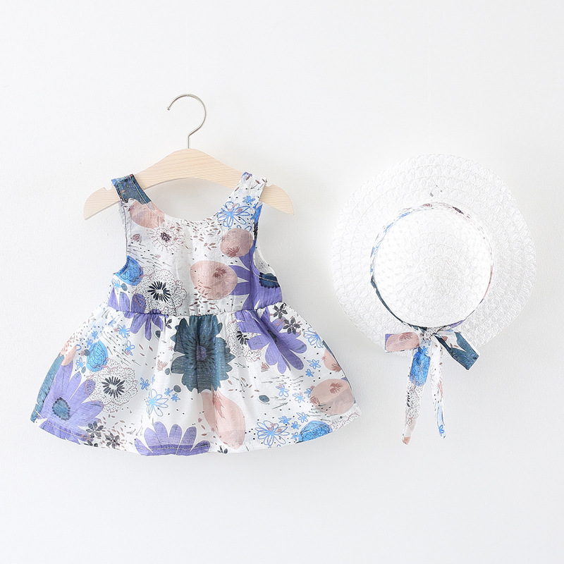 fashion Baby Dresses 2018 Summer New style Flowers Baby Girls Clothes Baby Princess Dress+hat 2pcs set Cute bow Kids Clothing