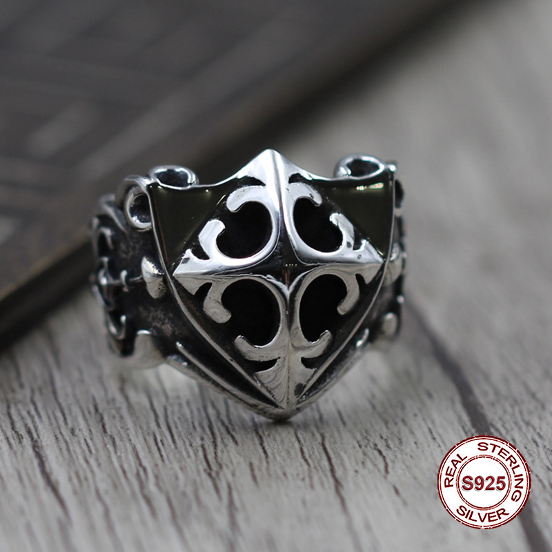 S925 Men's Sterling Silver Rings Personality retro classic punk style Word hand shield Open ring Send a gift to love