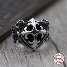 ФОТО s925 men's sterling silver rings personality retro classic punk style word hand shield open ring send a gift to love