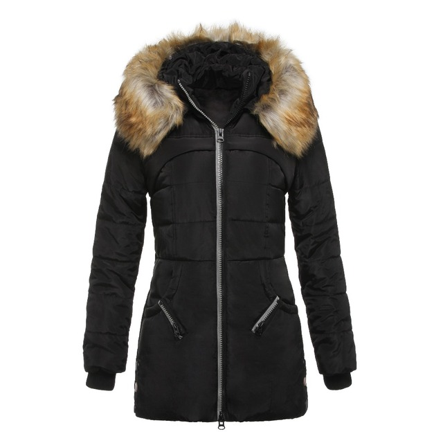 939f0560c1406 Women Winter Overcoat Fur Collar Winter Autumn Zipper Down Plus Size Coats Fashion  Warm Outerwear Female Hooded Thick Clothes