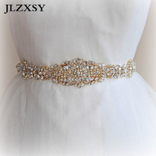 JLZXSY Gold Flower Style Full Crystal Rhinestone Wedding Belts Bridal Sash  Belts Fashion Bridal Dress Sashes f9d846b4e18e