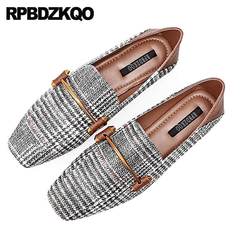 ... plaid flats large size wide fit shoes ladies china 2018 designer  gingham square toe brown chinese ... 83b39373709c