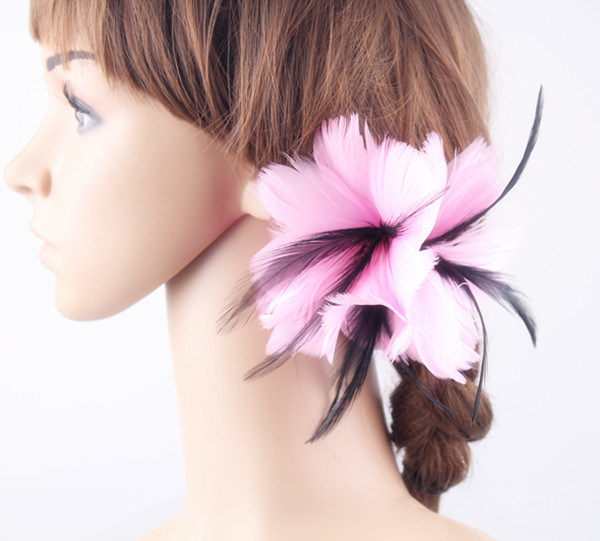 elegant feather fascinator feather flower hair accessories as party hats wedding hats brooches Free shipping 3 color available