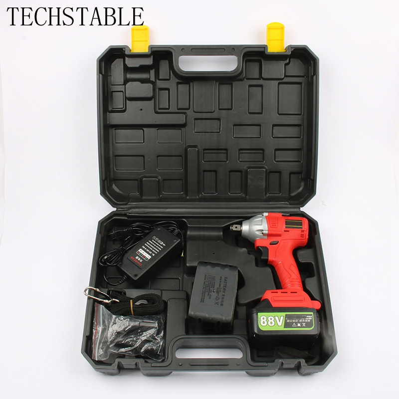 TECHSTABLE 88v 10000 mAh lithium battery Cordless electric wrench impact wrench rechargeable woodworking electric toolsTECHSTABLE 88v 10000 mAh lithium battery Cordless electric wrench impact wrench rechargeable woodworking electric tools