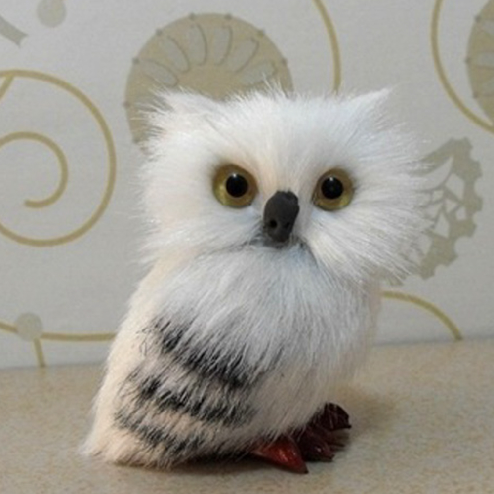 1pair newly white black owl furry christmas ornament decoration adornment simulation in figurines miniatures from home garden on aliexpresscom