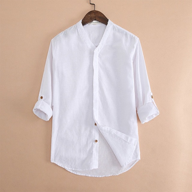 b6ec8ce414 High Quality Summer Mens Cotton Linen Shirt Cool Beach Clothes Solid White  Long Sleeve V-