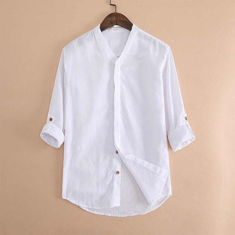ffb835df7c High Quality Summer Mens Cotton Linen Shirt Cool Beach Clothes Solid White  Long Sleeve V-