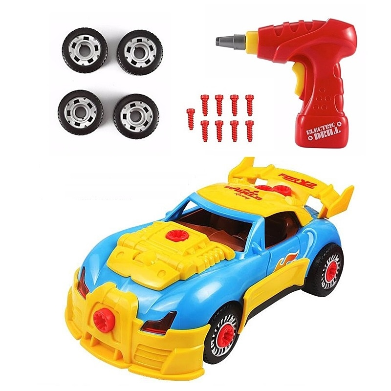 Toys Build Car Racing Toy Electric Drill Tool Screwdriver and Real Sounds Lights