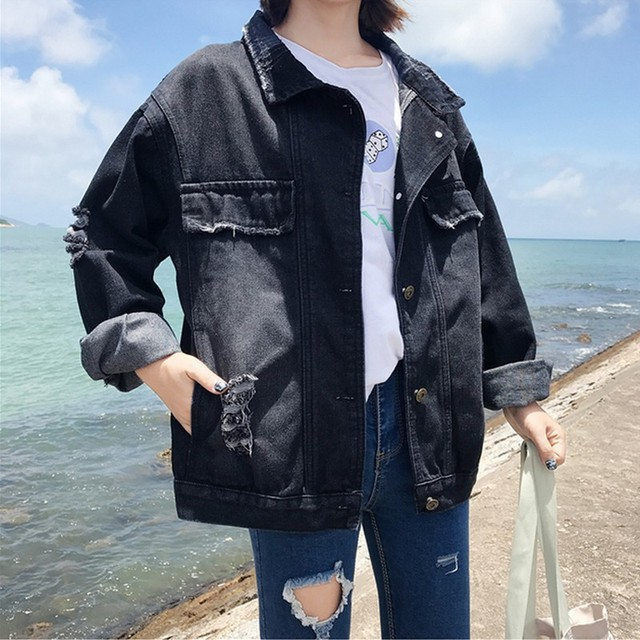 977e712fa0100 EXOTAO Basic Black Jeans Jacket Women Vintage Frayed Denim Jackets  Streetwear Single Breased Coats Female Loose Hole Outwear