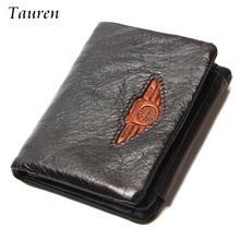 Tauren trifold portefeuilles hommes portefeuille 100% conception hommes de mode bourse titulaire de la carte portefeuille homme en cuir véritable avec fermeture éclair coin poches