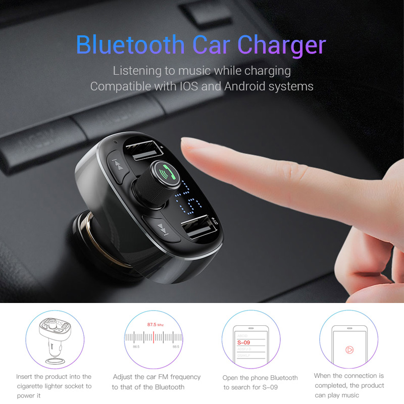 Baseus Car Charger FM Transmitter Aux Modulator Bluetooth Handsfree Car Audio MP3 Player 3.4A Fast Dual USB Mobile Phone Charger 2