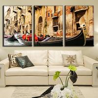 3 Pcs Set Modern Landscape Painting The Boat Song Of Water Town Wall Paintings Canvas Print