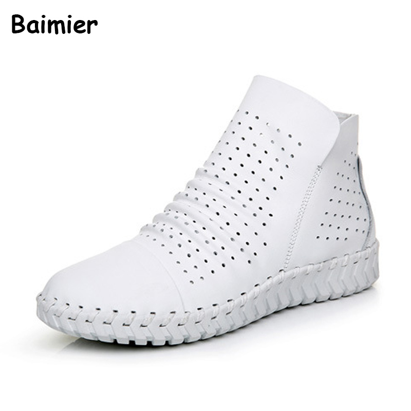 New Handmade Woman Mesh Casual Shoes Real Leather Sandals Mum Moccasins Chaussure Homme Sapatos Soft Breachable