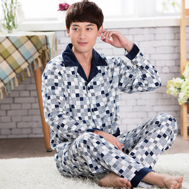 2018 Cotton Men Pajama Set Plaid Soft Sleepwear Men Suit Long Sleeves Pyjamas Men's Pajamas Sets Cotton Men's Sleepwears Sets XL