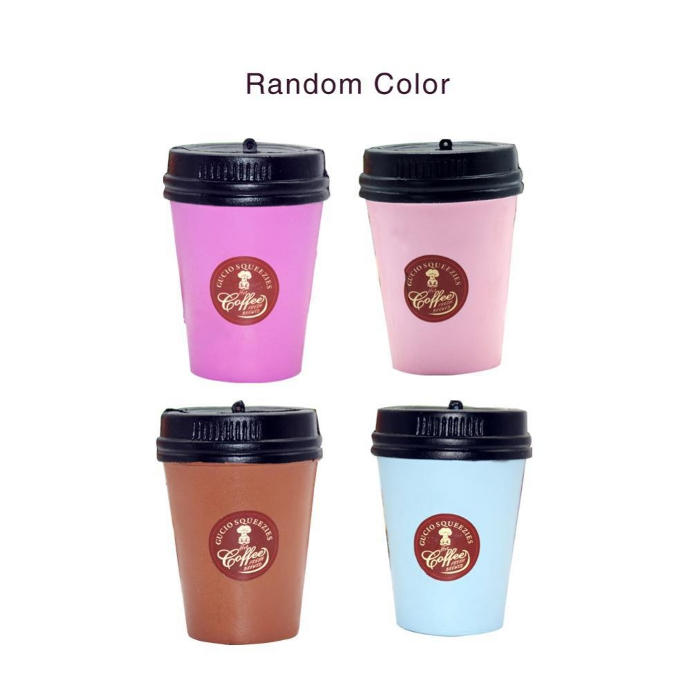 1 Pc Cute Squishy Slow Rising Jumbo 11CM Coffee Cup Phone Strap Kawaii Pendant Stretchy Bread