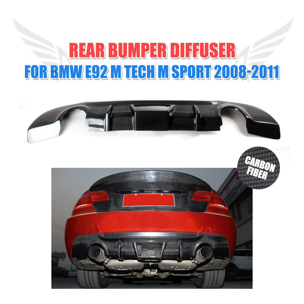 Carbon Fiber Rear Bumper Lip Diffuser Spoiler For BMW 3 Series E92 335i M Sport 2008-2011 dual exhaust one outlet