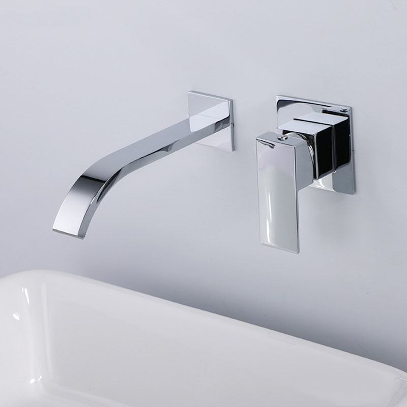 Quality brass bathroom wall mounted waterfall faucet thickening chrome plated bathroom mixer sink faucet hot and cold water tap