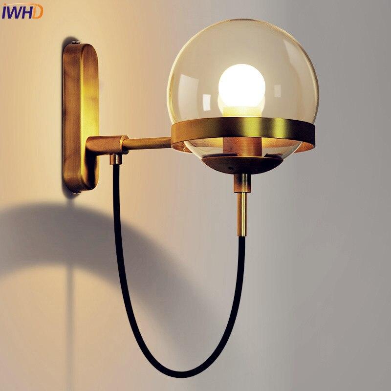 € 35.17 35% de réduction|Lampe de mur LED moderne nordique salle de bain  chambre boule de verre en cuivre Vintage appliques Wandlamp appliques ...