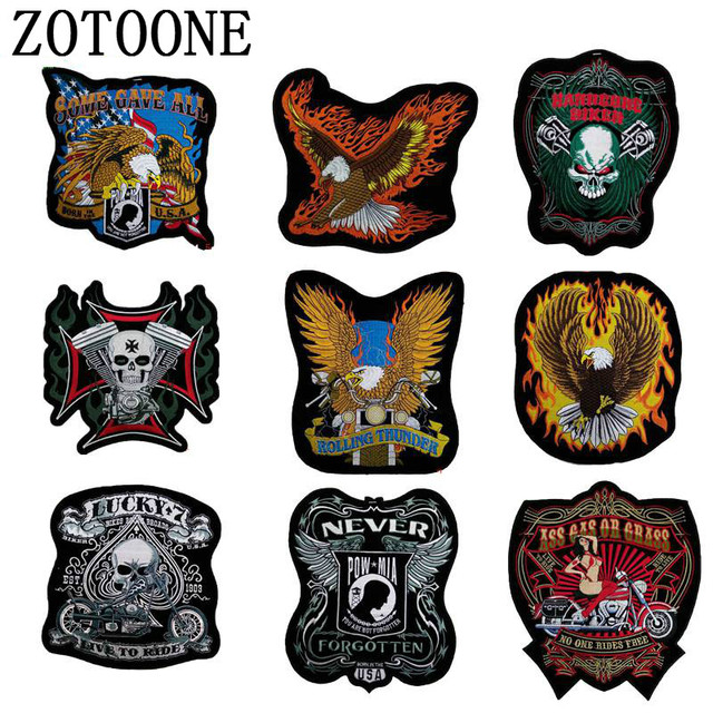Big Size Cheap Embroidery Cool Punk Rock Back Patch Motorcycle Iron