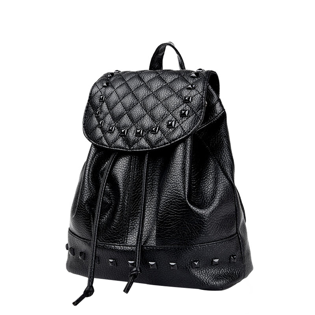 e476243c97a8 Fashion Backpack Rivet New Travel Bag Pu Backpack For Women School Student Teenage  Girl Mochila Escolar Women Backpack Rucksack-in Backpacks from Luggage ...