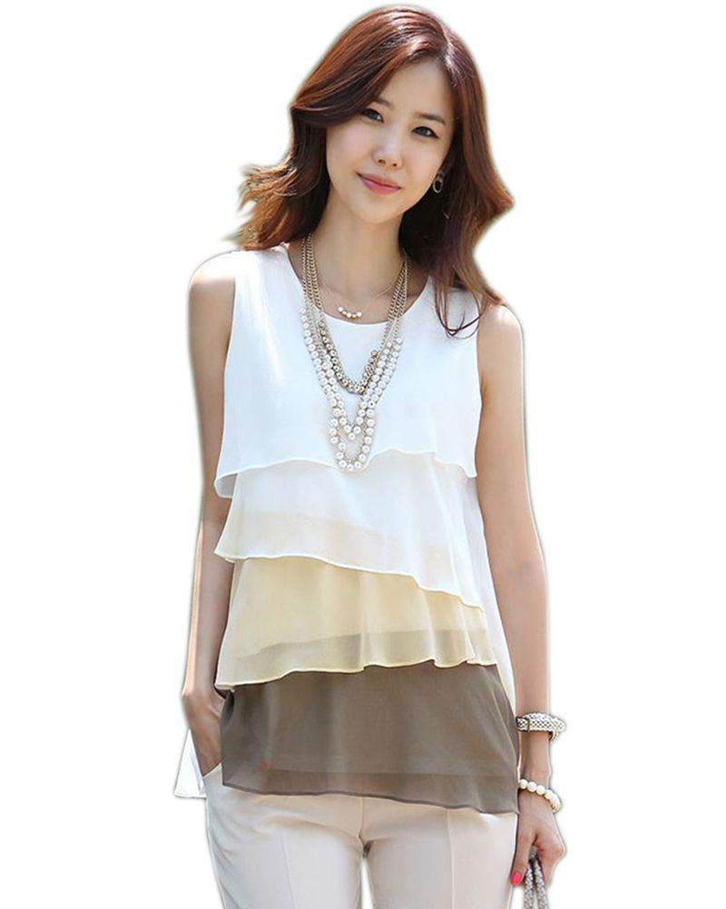 2017 New Multi-Colors   Blouse     Shirt   Spring/Summer Style Flounce Tiered Tops Round Neck Sleeveless Chiffon   Shirt   Blusas Femininas8