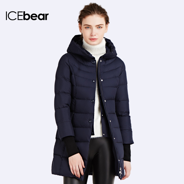 ICEbear 2016 Куртка зимний женский до середины бедра Пуховик имеет карманы на молнии Качественная куртка16G6132