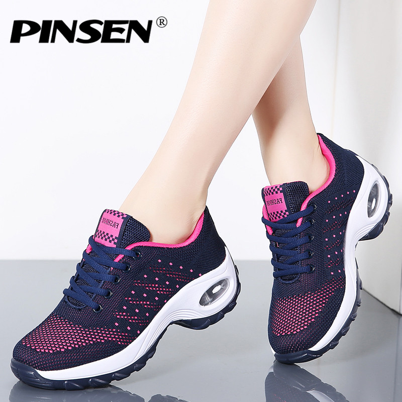 Pinsen 2019 Frühling Casual Frauen Schuhe Atmungsaktives Mesh Lace-up Schuhe Frauen Flache Plattform Turnschuhe Damen Schuhe Chaussures Femme Elegante Form
