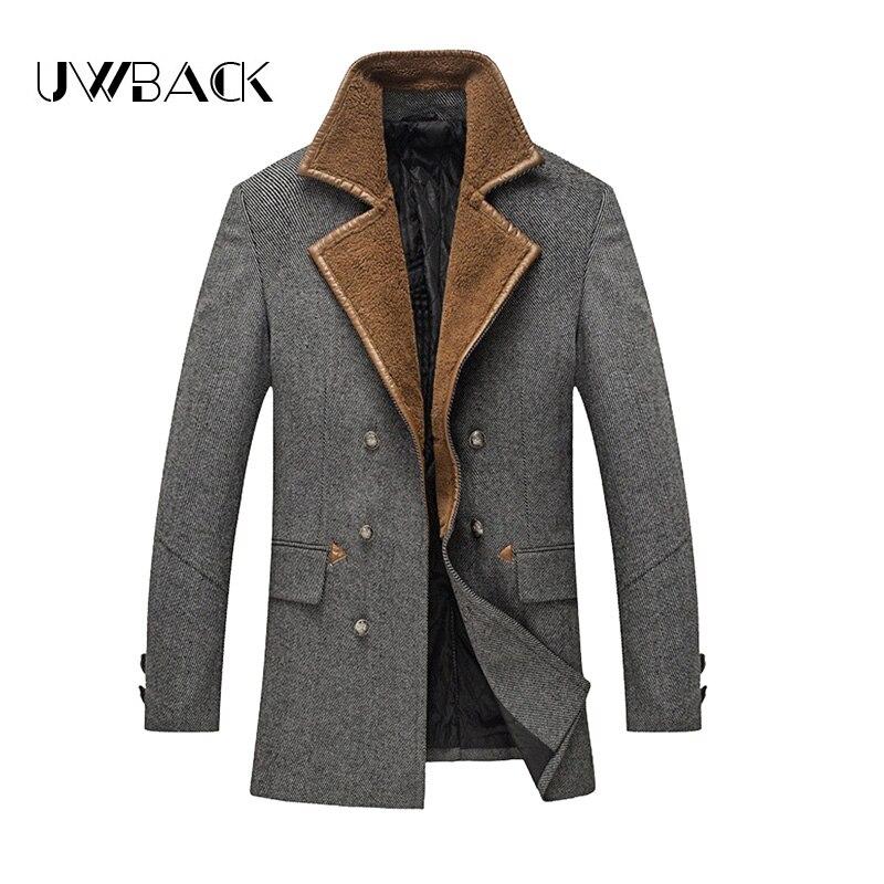 Uwback 2017 New Brand Long Thick Winter Trench Coat Man Wool Windbreaker Coat Men Plus Size3XL Fur Turn-Down Collar OA002