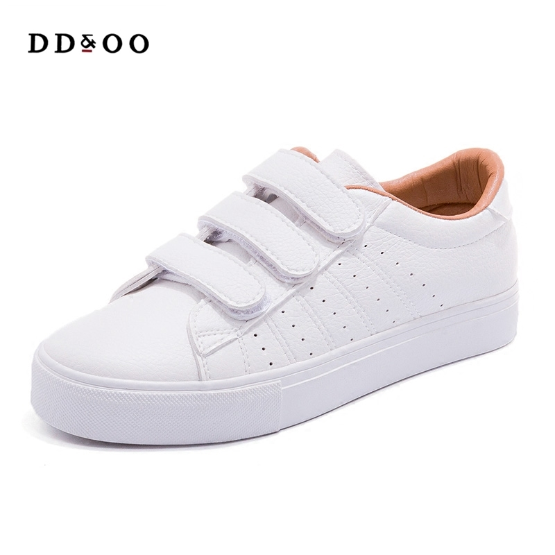 2017autumn new fashion women shoes casual high platform hole PU leather striped simple women casual white