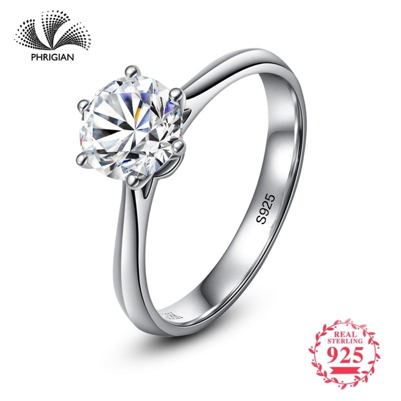 Не подделка да я делаю классические простые 1 карат мечта предложение кольцо S925 Стерлинговое серебро бриллиант 925 Для женщин Solitaire круглая огранка 6 когти купить на AliExpress