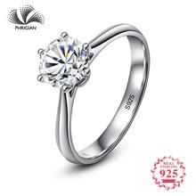 6bb1181fb859 No falso sí clásico Simple 1 quilate sueño propuesta anillo S925 de  diamantes de Plata de Ley 925 mujeres solitario redondo cort.