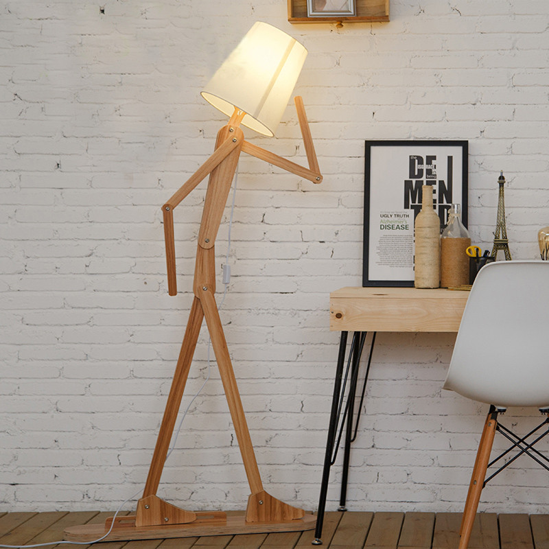 EMS Free Shipping Floor Lamp LukLoy Rustic Wooden Human linen Lampshades Modern Standing Bedside Light for Bedroom Living Room modern wooden floor lamps bookshelf floor stand lights tea table standing lamp living room bedroom locker nightstand lighting