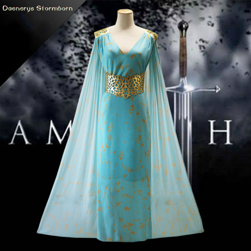 Hot Sale Movie Game of Thrones A Song of Ice and Fire Cosplay Costume Daenerys Targaryen Beautiful Blue Skirt Adult Full Dress