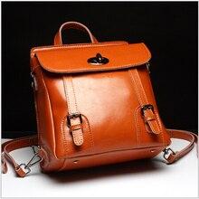 Мода стиль женские подлинная кожа коровы рюкзак девушки два плеча сумку дамы офис vinatge рюкзак