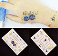 2015 New 4pcs Metallic Tattoo 3D Butterfly Chain Temporary Flash Gold Blue Tattoo Skin Maker for Women