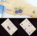 Metálico cadeia borboleta 3D tatuagem Flash de ouro temporária tatuagem azul fabricante de pele para mulheres