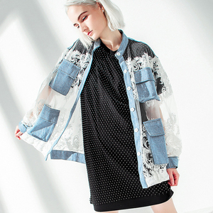 Image 5 - [EAM] 2020 New Spring Autumn Stand Collar Long Sleeve Blue Denim Lace Split Joint Big Size Jacket Women Coat Fashion Tide JU301
