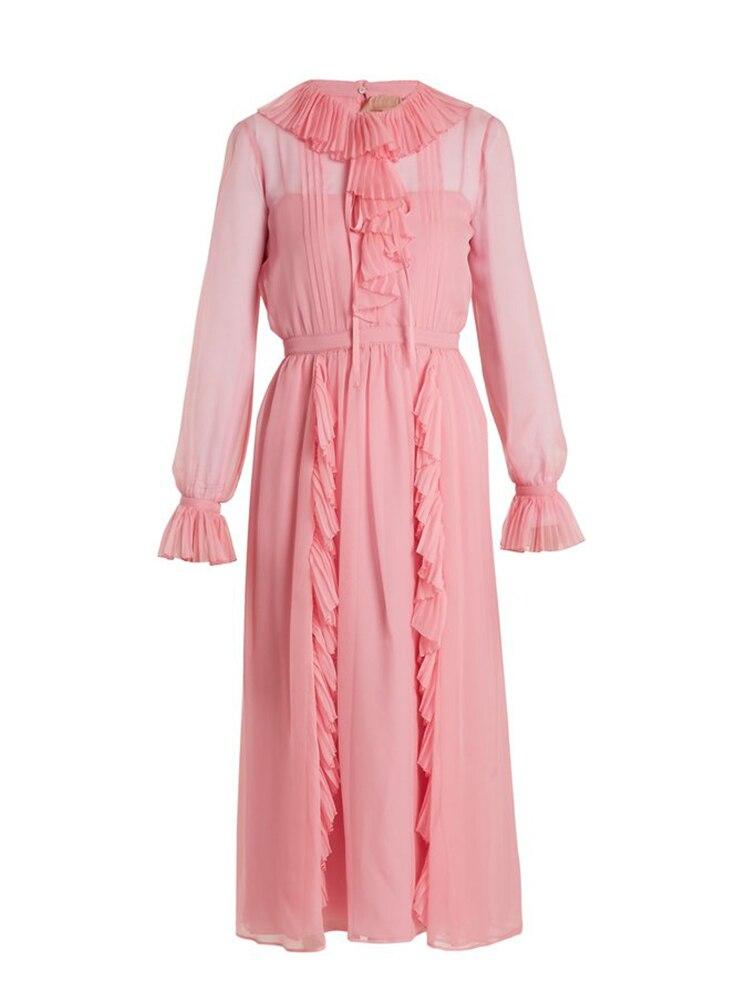 2018 Nouvelles Femmes D'été Rose Robe Longue Kpop BlackPink Sulli Même Style En Mousseline de Soie Fée Robes robes verano largos elegantes