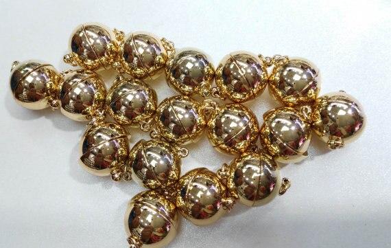 AA Margnetic claps 12 pièces 14mm LAITON Magique Fermoir Connecteurs en laiton Fermoirs Magnétiques rond en or rose bronze argent bijoux c