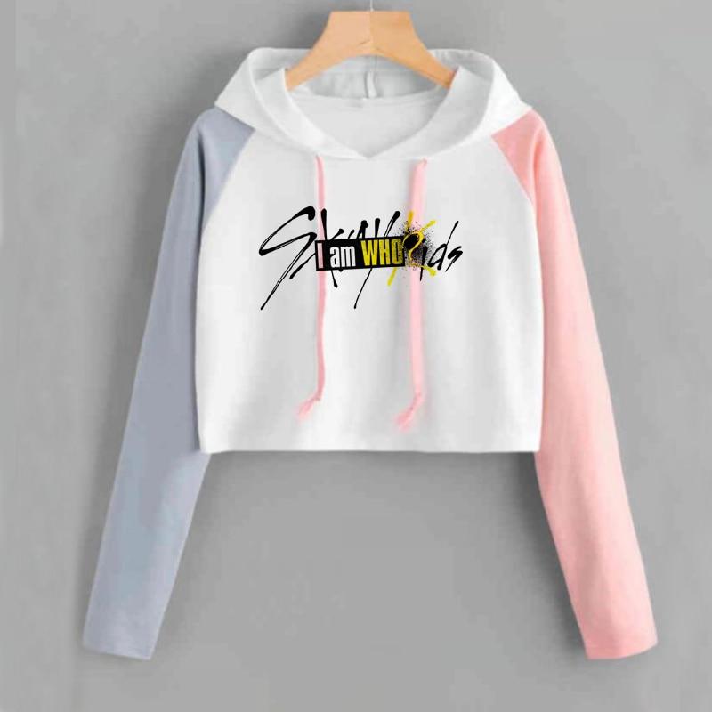 Cropped Hoodie Stray Kids Kpop Harajuku Patchwork Long Sleeve Short Sweatshirt K-pop Female Fans Hip Hop Casual Sweatshirts