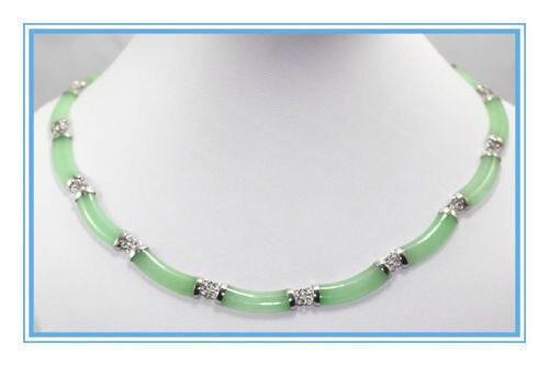 Vente chaude nouveau Style>>>>> Nouvelle Sterling Vert Jade Lien Collier 17 Pouce
