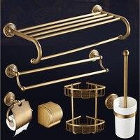 Solid brass Bathroom Accessories Set, Carved Antique Paper Holder,Towel Bar,toilet brush holder Towel Rack bathroom hardware set