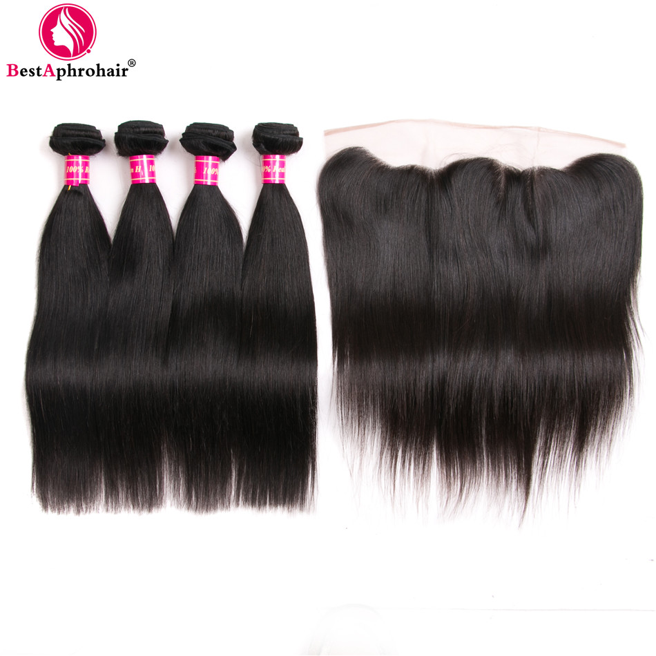 Aphro Hair Brazilian Straight Hair 4 Bundles With Closure Non Remy Human Hair Bundles With Lace