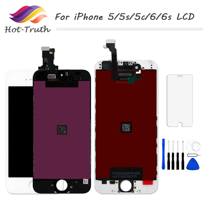 Hot-Truth 1 PCS Grade AAA+++ Screen For iPhone 5 5s 5c 6 6s LCD Display Touch Screen Digitizer 100% Tested +Tempered Glass+Tools