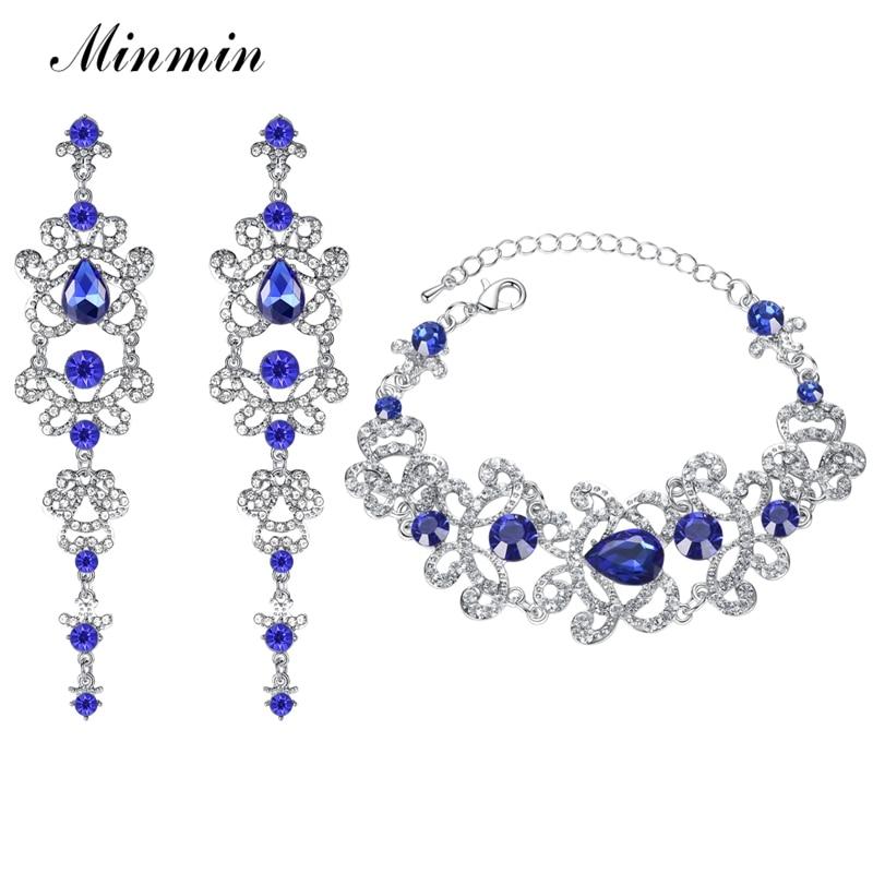 Minmin الأزياء الدمعة الأزرق كريستال مجموعات مجوهرات الزفاف للنساء بيان زهرة أقراط سوار مجموعات المجوهرات EH166 + SL032