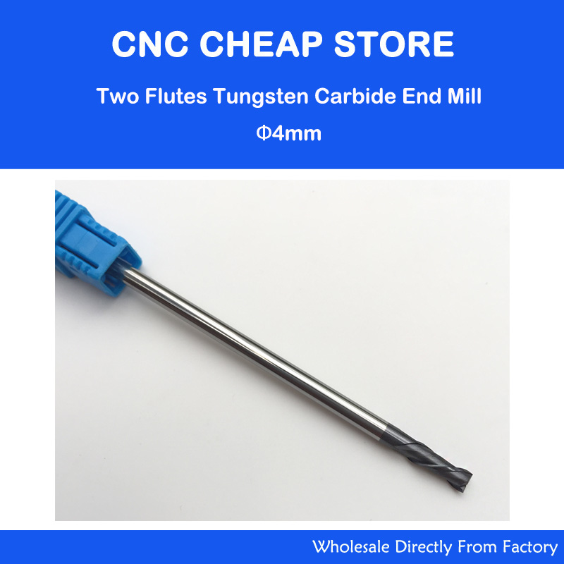 3pcs 2 Two Double flutes HRC55 extra long shank length 4*4*10*100mm tungsten carbide end mill bit CNC milling cutter Lengthen 5pcs 1 8 3 175 extra long cnc milling cutter two double flutes tungsten spiral end mill cnc router bits for mdf 2 6mm