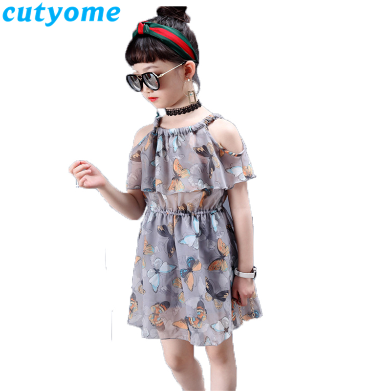 Cutyome Big Girls Off Shoulder Chiffon Dresses Fashion Summer Halter Neck Butterfly Printed Bohemian Beach Dress Teenage Clothes