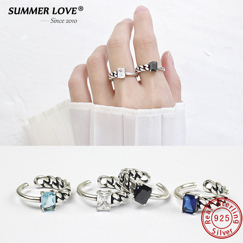 Luxury 925 Sterling Silver Finger Ring For Women Adjustable Black White Crystal Open Rings Wedding Engagement Acessories